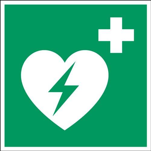 Hinweistafel Defibrillator 20 x 20 cm Langnachleuchtend