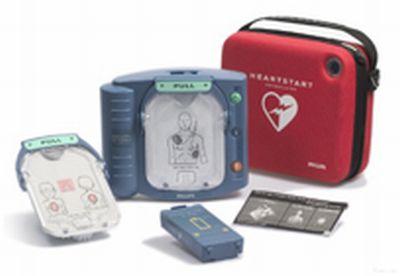 Philips HS I Defibrillator inkl. Zubehör und Tasche